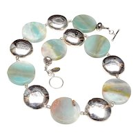 Natural Amazonite Discs with Sterling Silver Discs