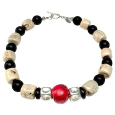 Berry Red  and Cream Bamboo Coral, Onyx,  Sterling Silver