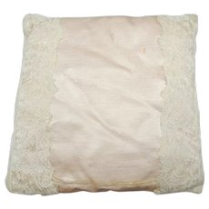 Vintage 1920's Boudoir/Ring Pillow in French Antique Lace Covering Satin Silk