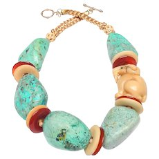 Natural Chrysocolla, Bone, Carnelian and Carved Tagua Nut Goat Necklace
