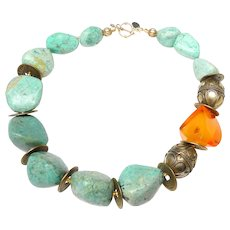 Necklace of Natural Amber, Natural Chrysocolla Nuggets, Brass from Turkestan, and Chinese Coins
