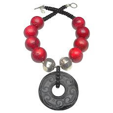Black Nephrite Jade Disc on Bamboo Coral, Sterling Silver