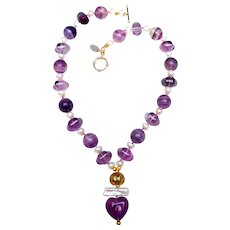 Heart of Fluorite on Necklace of Cultured  Pearls and Fluorite