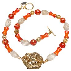 Old Gilt brass button on Necklace of Natural Carnelian, Rock Crystal and Traditional Afghan Gold Plated Beads