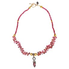 Pink Tourmaline and Diamonds in Silver Gilt Pendant on Necklace of Tourmalines, Pink Garnets and 18 ct Gold