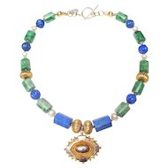 Victorian 9K Gold Locket on Lapis, Burma Jadeite, Cultured  Pearls, 18K Gold