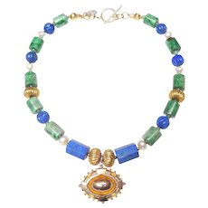 9 ct Gold Target Locket on Necklace of Natural Lapis, Burma Jadeite, Cultured Baroque Pearls and 18 ct Gold Beads