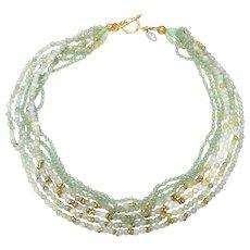 Multi strand Necklace of Natural Jadeite, Aventurine and Ethiopian Heishi Brass Beads