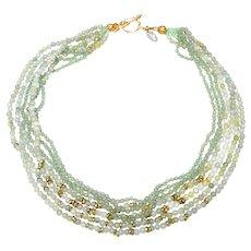 Multi strands of Jadeite, Aventurine, Ethiopian Heishi Brass