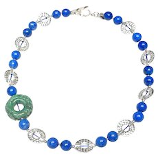Jadeite Disc on  Sterling Silver Discs and Lapis