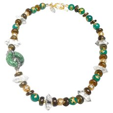 Natural Green Carved Burma Jadeite Disc on Necklace of Labradorite, Crystal, Heat -Treated Green Aventurine Inset with Gold Plated Dragons and Traditional, Afghan Beads