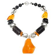 Butterscotch Natural Amber on  Sterling Silver,  Onyx, Carved Burnt Jade