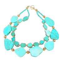 Double Strand of Quality Turquoise,  with Vintage Vermeil