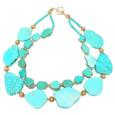 Double Strand Necklace of Fine Quality, Natural Turquoise, Interspersed with Traditional Afghan Beads