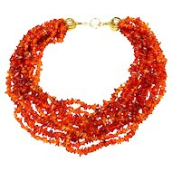 Natural Amber  Nine-Strand Necklace