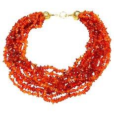 Natural Amber  Nine-Strand Necklace