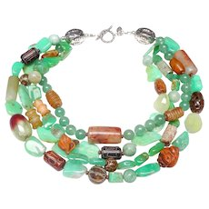 Four Strand Statement of  Chrysoprase,Vintage Jades, Carved Boxwood, Silver