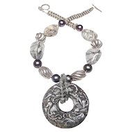 Vintage Jade Dragon Disc, on Sterling Silver,  Tourmaline,  Pearls