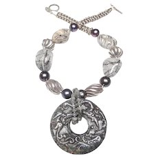 Carved Dragons on Natural Grey Nephrite Jade Bi Disc, Sterling Silver, Natural Tourmaline Quartz and Natural Cultured Pearls