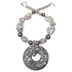 Vintage Jade Dragon Disc, on Sterling Silver,  Tourmaline,  Pearls