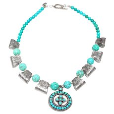 Sterling Silver Pendant Inlaid with Stabilized Turquoise in Necklace of Sterling Silver and Turquoise
