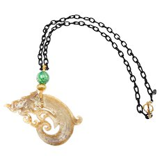 Calcified Nephrite Jade Dragon with 18 ct Gold, Natural Green, Carved Burma Jadeite on Silk Chain
