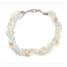Four Strand Choker Necklace of Pastel Organza Ribbons with Natural, Cultured Baroque Freshwater Pearls