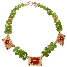 Rough-Cut Natural Peridot, Old Afghan Panels Inlaid with Natural Carnelian and 18 Ct Gold