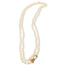 "Vintage Cultued Pearls, Continuous  Strand of 58"", 15K Gold, Diamond Clasp with Sapphire"