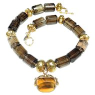 Antique Victorian 9K Gold, Citrine Fob on Smoky Quartz, 18K Gold