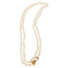 "Estate Cultued Pearls, 58"" Continuous Strand, 15K Gold, Diamond, Saphire Clasp"