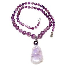 Long Victorian Natural, Faceted Amethyst Necklace with  Natural Lavender Jadeite Pendant