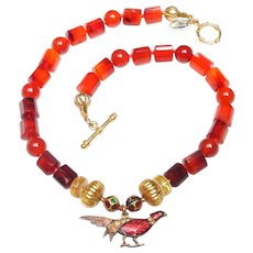 Vintage Guilloche Enamel Pheasant, Inlaid Citrines, on Necklace of Carnelian, Citrine and 18K Gold
