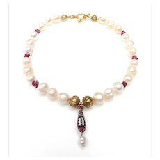 Antique Tudor Dynasty Bronze, Garnet, Pearl Pendant on Cultured Pearls and Tourmaline