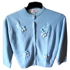 Vintage Hand Embroidered Cardigan Sweater