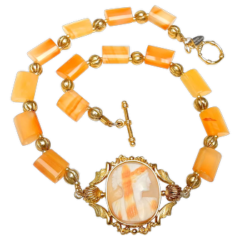 Antique Georgian Cameo in Rolled Gold on Carnelian and Vermeil