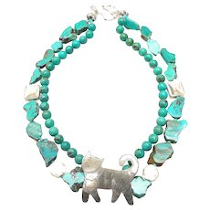 Vintage Sterling Silver Cat on Double Strand of Natural Turquoise
