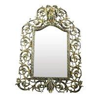 Antique Victorian Brass Hanging Mirror