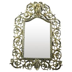 Antique Victorian Brass Hanging Mirror
