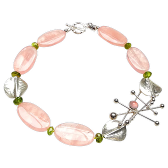 Vintage Danish N.E. From's Sterling Silver with Rose Quartz,  on Necklace of Rose Quartz, Peridot, Sterling Silver