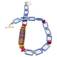 Antique Afghan Mosaic Cylinder on Necklace of Natural Lapis, Coral and Vermeil