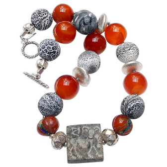 Antique Medieval Stone Two-Sided Seal, on Sterling Silver, Carnelian and Agate