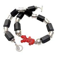 Roman Glass Dog Bead on Jet & Silver Necklace