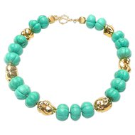 Carved Turquoise Howlite and Vermeil Necklace