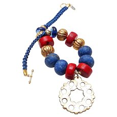 Antique Tudor Dynasty Bronze Disc on Necklace of Lapis, Coral, Vermeil