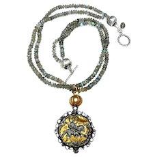 Pilgrims Badge Graces Double Strand Labradorite Necklace