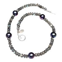 Natural Labradorite and Cultured Pearl Necklace