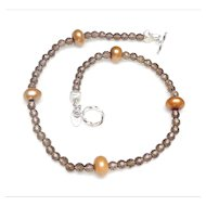 Natural Smoky Quartz and  Cultured Pearl Necklace