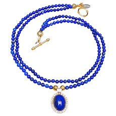 Vintage Lapis, Zircon 9K Gold on 2-Strands of Lapis