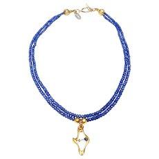 Antique Art Nouveau 14K Gold, Sapphire Pendant on 2-Strands of Natural Tanzanite